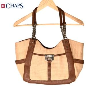 CHAPS Large Leather Trim Textured Shoulder Bag.